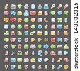 Vector Set of 100 Glossy Sticker Icons - stock vector