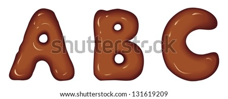 Vector set of glossy three-dimensional letters consisting of melted dark chocolate - stock vector