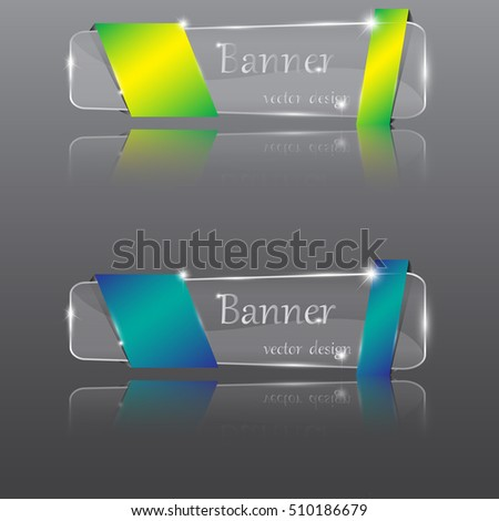 vector set of glossy transparent banners