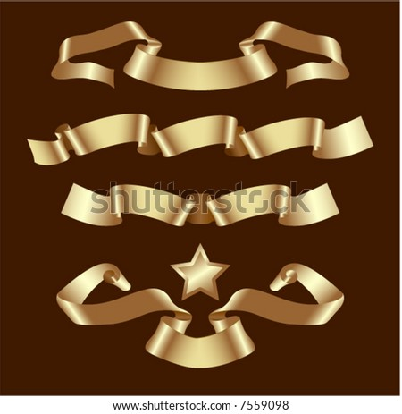 Vector set of gold banners - stock vector