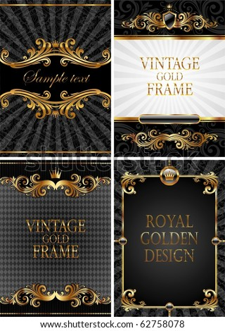 Vector set of gold & black luxury decorative ornate background - stock vector
