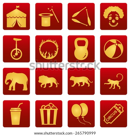 Vector Set of Gold Circus Icons on Red Square Background - stock vector