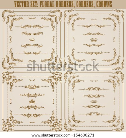 Vector set of gold decorative horizontal floral elements, corners, borders, frame, dividers, crown. Page decoration. - stock vector