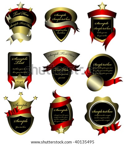 Vector set of gold framed labels (vector) In the gallery also available high resolution jpeg image made from this vector