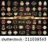 Vector set of gold framed labels - vintage style - stock