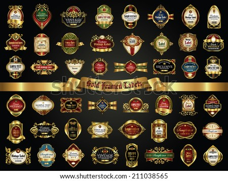 Vector set of gold framed labels - vintage style - stock vector