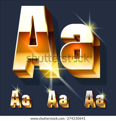 Vector set of gold shiny 3D alphabet. Letter A - stock vector