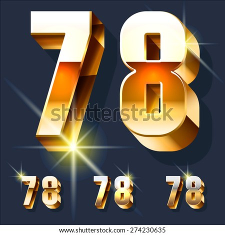 Vector set of gold shiny 3D alphabet. Numbers  7 8 - stock vector