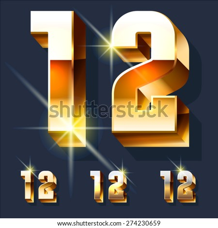 Vector set of gold shiny 3D alphabet. Numbers 1 2 - stock vector