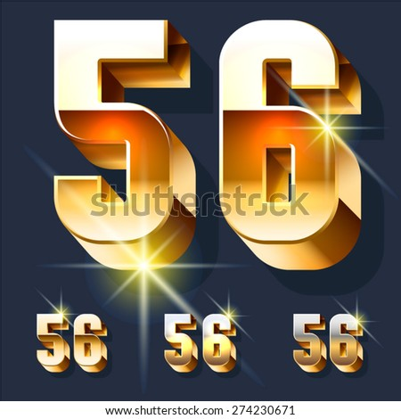 Vector set of gold shiny 3D alphabet. Numbers 5 6 - stock vector