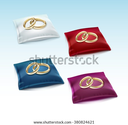 Vector Set of Gold Wedding Rings on Red White Blue Purple Satin Pillow Isolated on White Background - stock vector