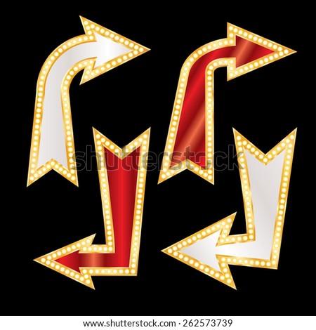 vector set of golden blank corner arrows with bulb lamps - stock vector