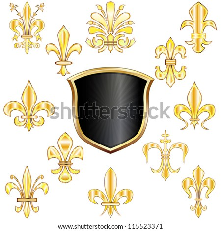 Vector set of golden Fleur-de-lis and shield on white - stock vector