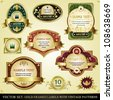Vector set of golden framed labels with vintage patterns - stock vector