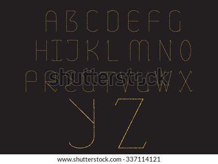 Vector set of golden glitter letters.