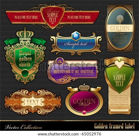 Vector set of golden luxury framed decorative ornate label - stock vector