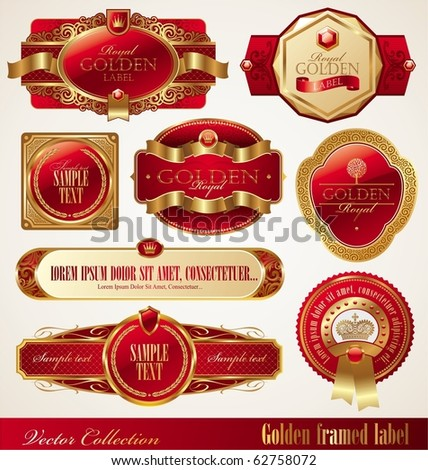 Vector set of golden luxury ornate frames - stock vector