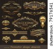 Vector set of golden ornate page decor elements:  banners, frames, dividers, ornaments and patterns on dark wood background - stock photo