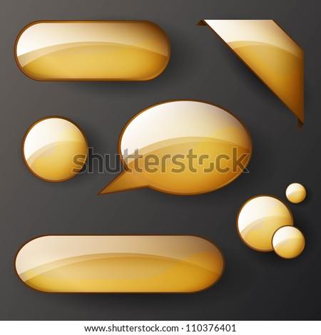 Vector set of golden shiny elements - stock vector