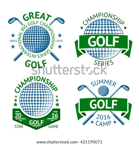 Vector set of Golf badges, logo templates, etc. With golf club and golf ball. - stock vector
