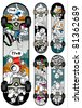 Vector set of graffiti skateboards styles. All elements are grouped. Wheels are on separate layer. - stock vector
