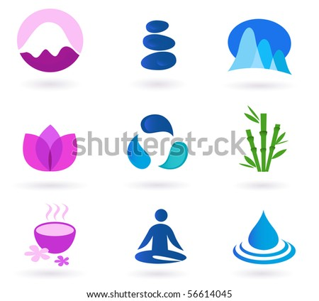 Vector set of 9 graphic design elements inspired by water, nature, soul and meditaion. Perfect use for websites, magazines and wellness brochures. - stock vector