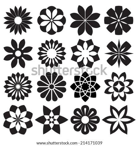 Vector Set of Graphic Flowers - stock vector