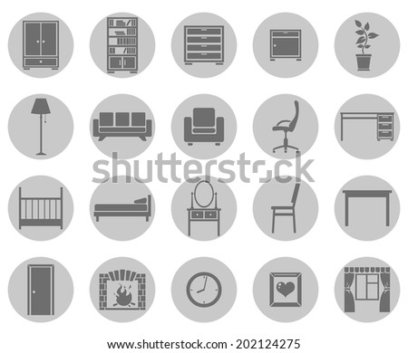 Vector Set of Gray Circle Furniture Icons - stock vector