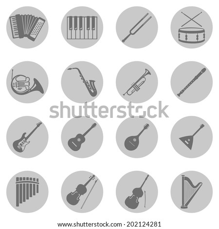 Vector Set of Gray Circle Musical Instruments Icons
