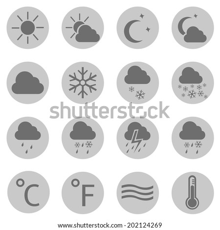 Vector Set of Gray Circle Weather Icons