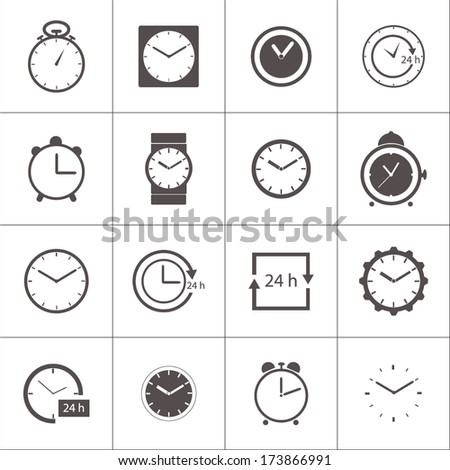 Vector set of gray clocks icons on white background