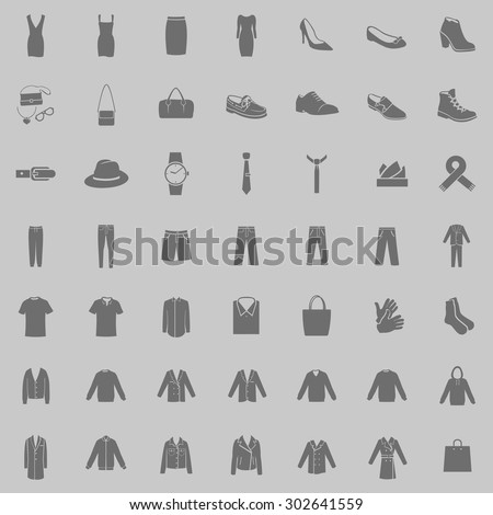 Vector Set of 49 Gray Clothes Icons. Mens and Womens Fashion. Casual, Sport, Busines and Evening Wear. Footwear. Clothes. Accessories. Overcoat.