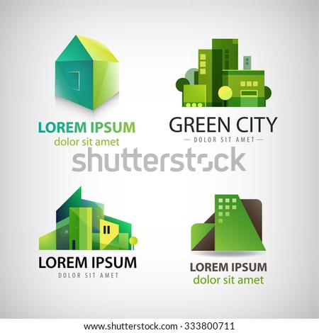 Vector set of green building icons, logos. Eco city, houses concept. Identity - stock vector