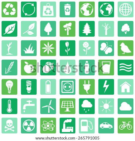 Vector Set of Green Ecologic Icons - stock vector