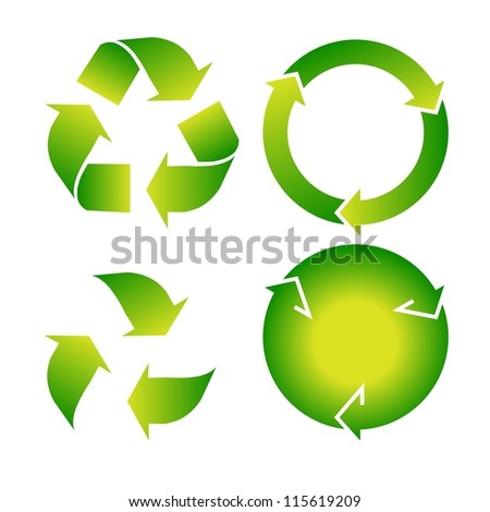 Vector set of green recycle icon on white background - stock vector