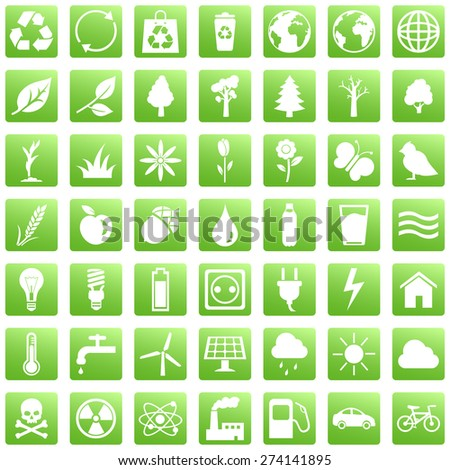 Vector Set of Green Square Ecologic Icons - stock vector