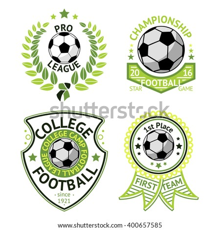 Vector set of green vintage Football labels. With laurel wreath, ball, shield and ribbons.