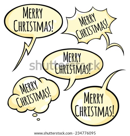 Vector Set of Greeting Bubble with Text -  Merry Christmas.