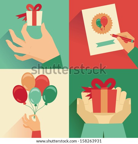 Vector set of greeting card in flat retro style - stock vector