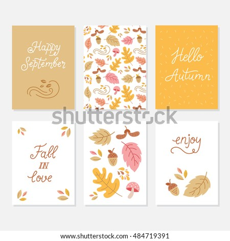 Vector Set Of Greeting Cards With Autumn Elements And Lettering. Happy  September, Hello Autumn