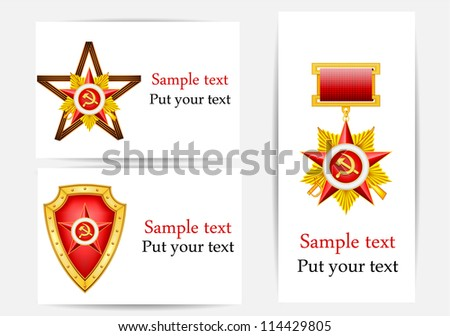 vector set of greeting cards with military ribbons and medals , dedicated to 23 of February