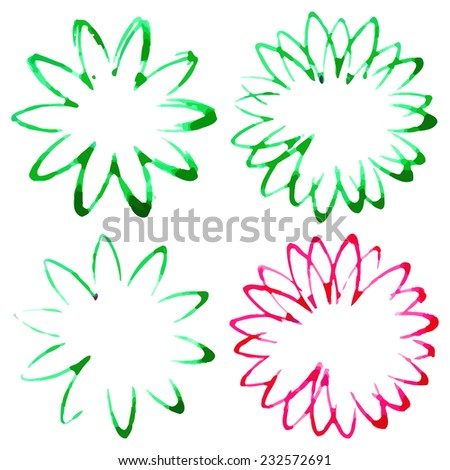 Vector Set of Grunge and Watercolor Flowers - EPS10 - stock vector
