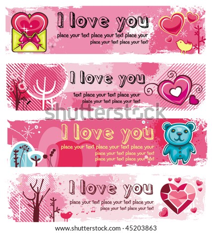 Vector set of 4 Grunge banners for Valentine's day. With space for your text - stock vector