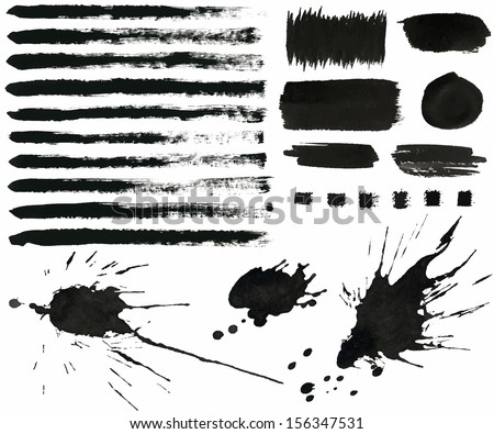 vector set of grunge black ink brush strokes, splash, design elements - stock vector