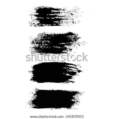 Vector set of grunge brush strokes. Black vector brush strokes collection. Black paint spots vector set - stock vector
