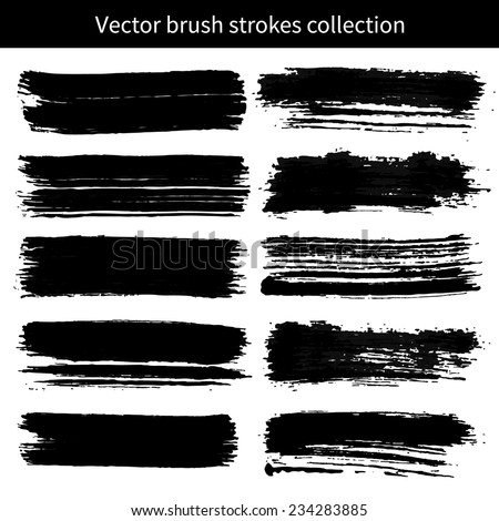 Vector set of grunge brush strokes. Element for your design. - stock vector