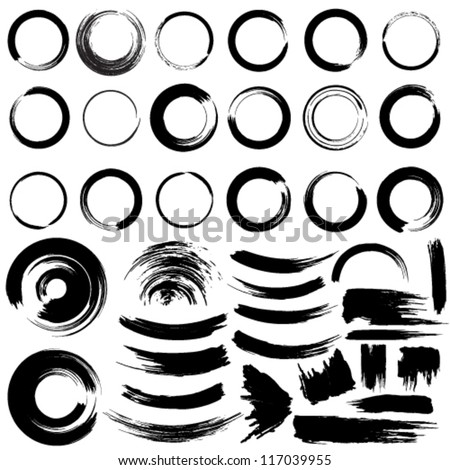 Vector set of grunge circle brush strokes. - stock vector