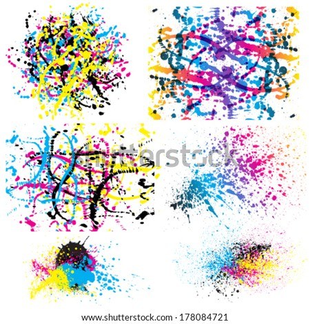 Vector set of grunge colorful paint stains. - stock vector