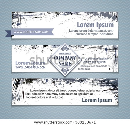 Vector set of grunge horizontal banners. Grey and blue hand-drawn ink stains, flourishes and blots. There is place for your text on white area. - stock vector