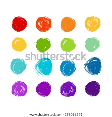 Vector set of grunge rainbow circle brush strokes for design elements.